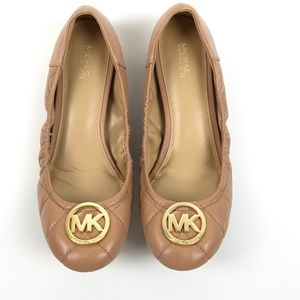 NWOB Michael Kors Nude Fulton Quilted Flats 9